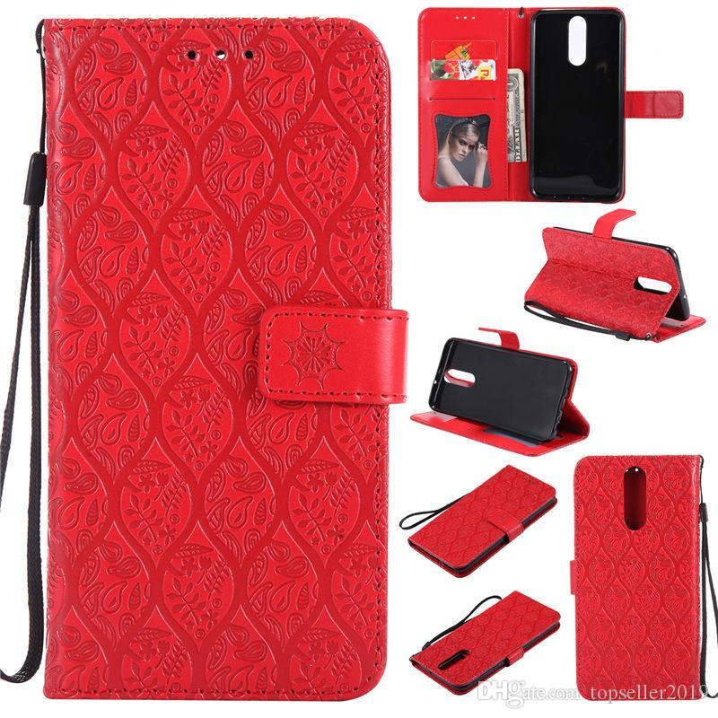 Pour Huawei Mate 10 Lite Stand Conception Portefeuille Style Cadre Photo Étui En Cuir Téléphone Sac Couverture Avec Porte-Carte 3D En Relief Rotin Fleur A071