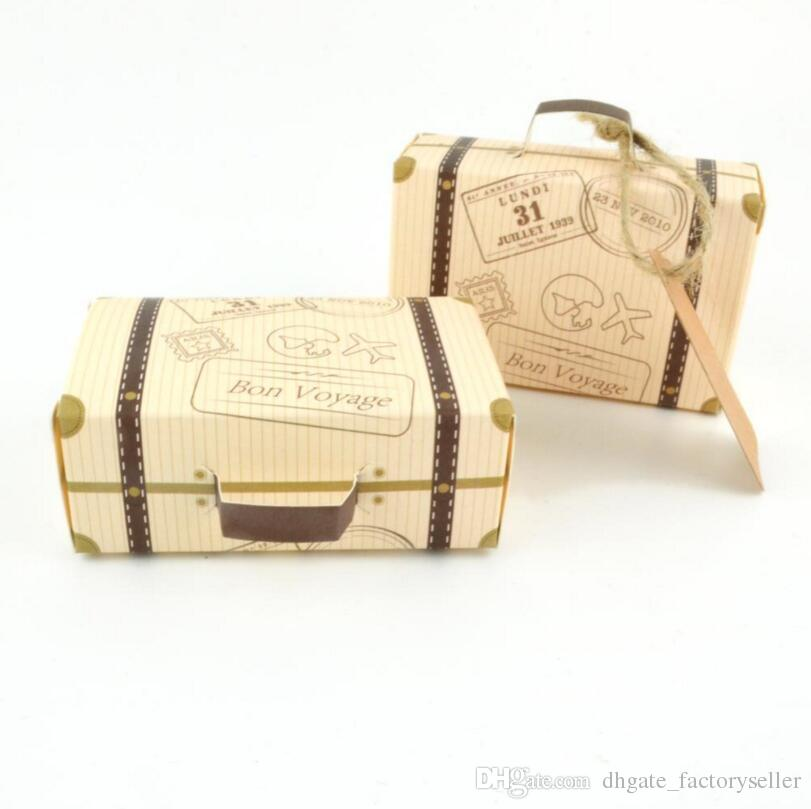 Kraft Paper Wedding Favor Box Vintage Mini Suitcase Candy Chocolate Boxes Sweet Bags Party Gift Box LX3408