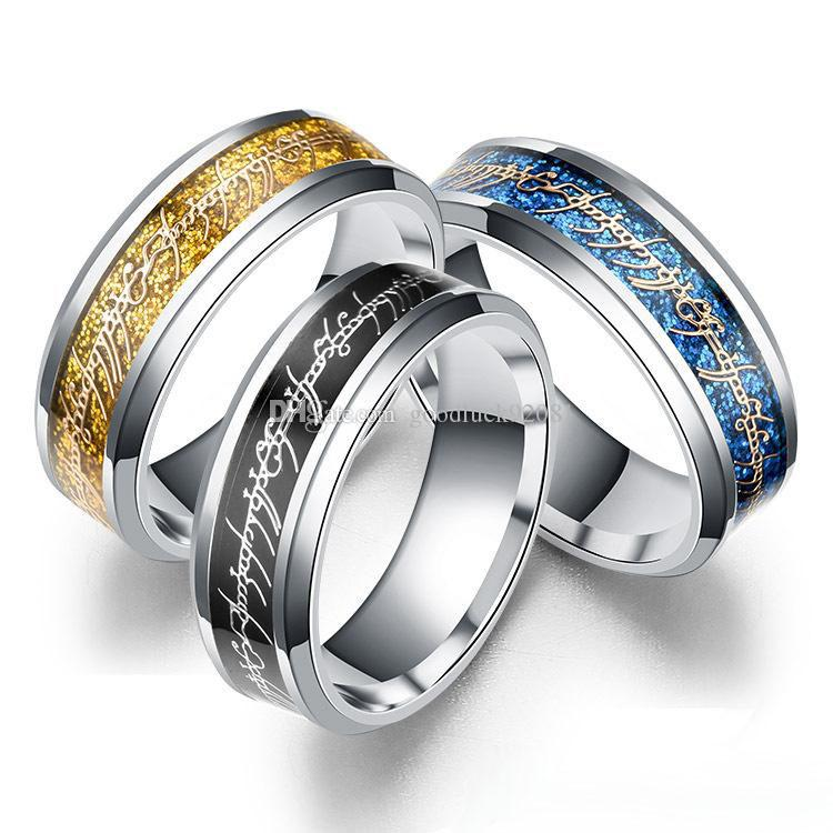Der Herr der 8mm Ring Silber Gold Brief Fingerring Band Ringe Edelstahl Ring Brave Hoffnung inspirierende Schmuck Frauen Männer