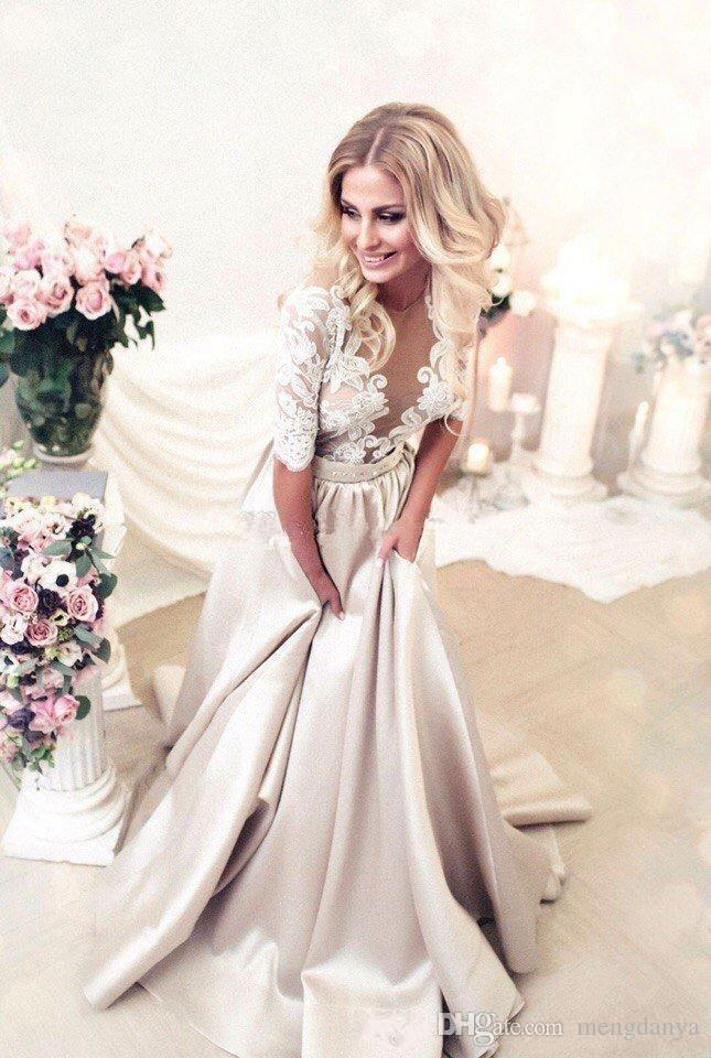 Weiße Spitze Champagner Satin Brautkleider Halbe Langarm Spitze Applique Brautkleider Sheer Neck Illusion Hochzeitskleid Knöpfe Zurück
