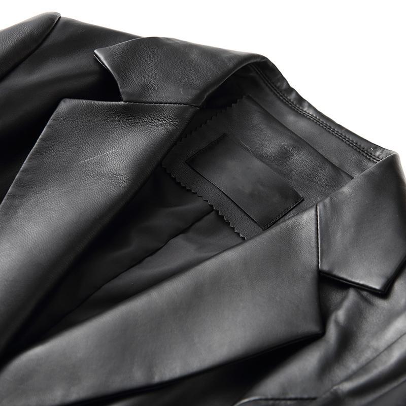 Damen Lederjacke Mantel Single Schaffell Fit Frauen Luxus Großhandel Büro Arbeit Von Liangcloth178 100Echtleder Slim 6 Blazer Umlegekragen Button bgyYf76