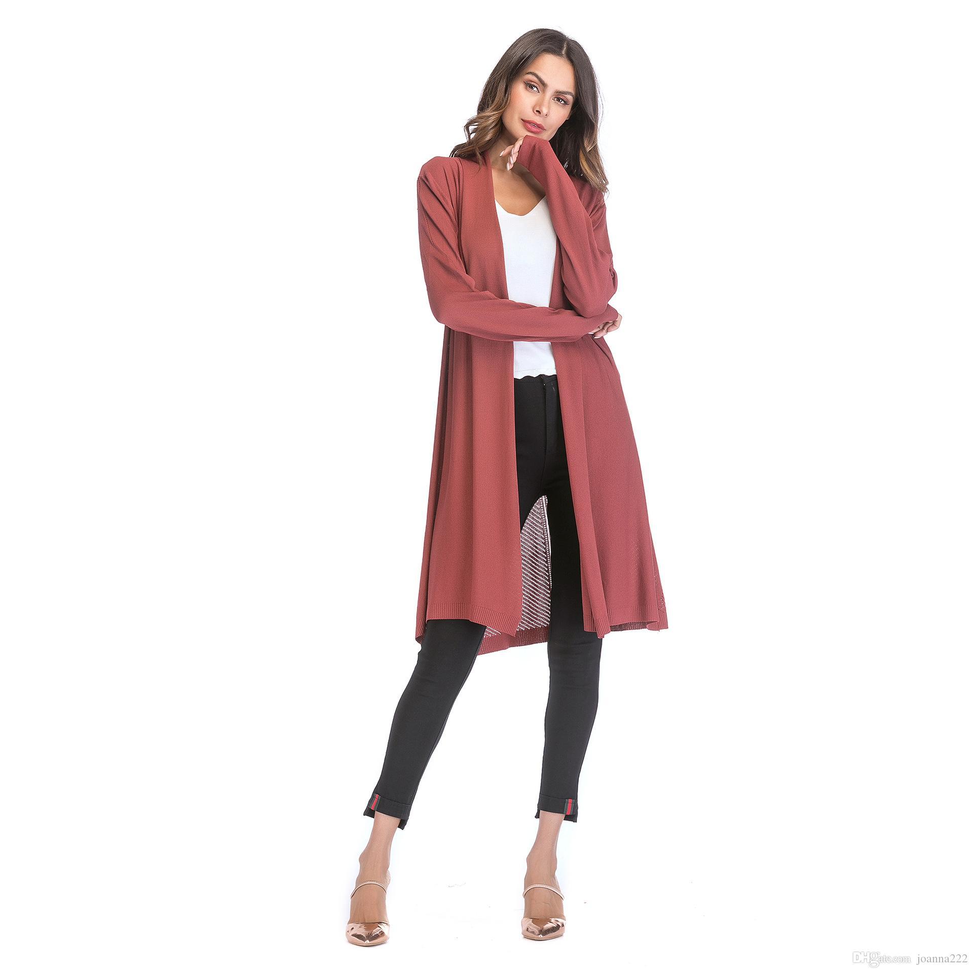 2018 осень горячая женская тонкий раздел полые свитер Свитер сплошной цвет драпировка воротник кардиган пальто четыре цвета