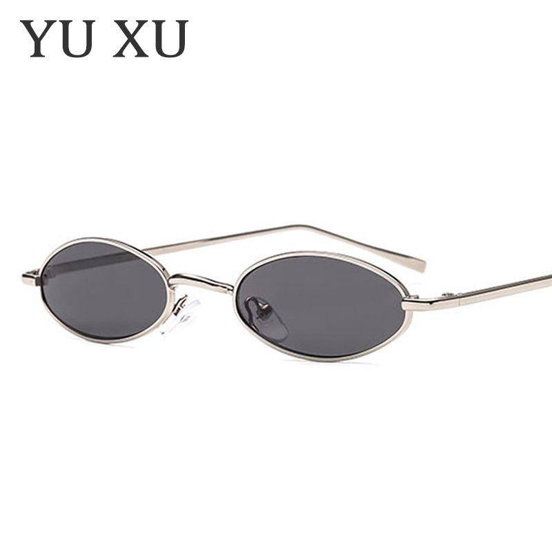 Yu Xu Fashion Small Frame Oval Occhiali da sole Donna Brand Design Snello Metallo Occhiali da sole Maschio retro Montatura in metallo piccoli occhiali da sole rotondi H54