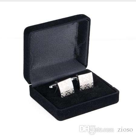 Gemelos de alta calidad Cufflink Squre Laser Silver Plating Wedding 197a
