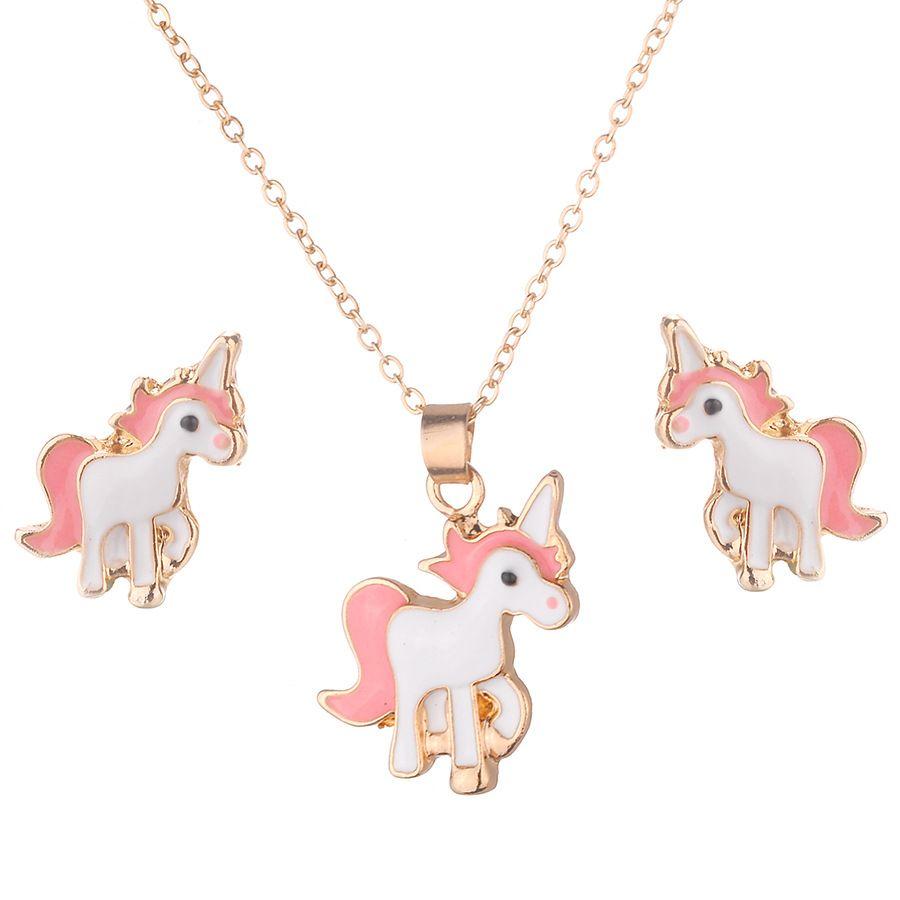 Halskette Ohrringe Cartoon Horse Unicorn Halskette Ohrring Schmuck Rosa Mädchen Geschenk Schmuck