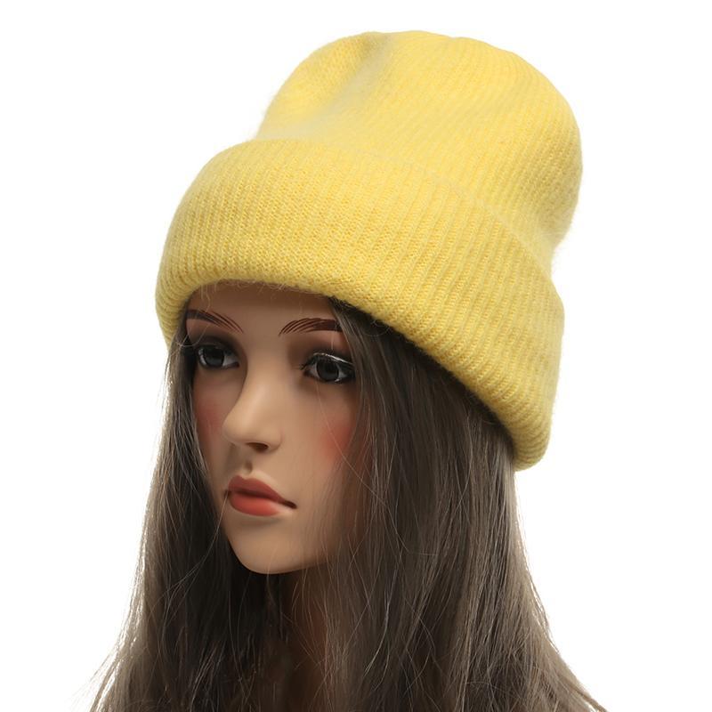 سميكة طبقة مزدوجة الدافئة النساء الشتاء قبعات بيني الحياكة أرنب الصوف قبعة الفرو الإناث skullies القبعات قبعات gorros بلون D18110102