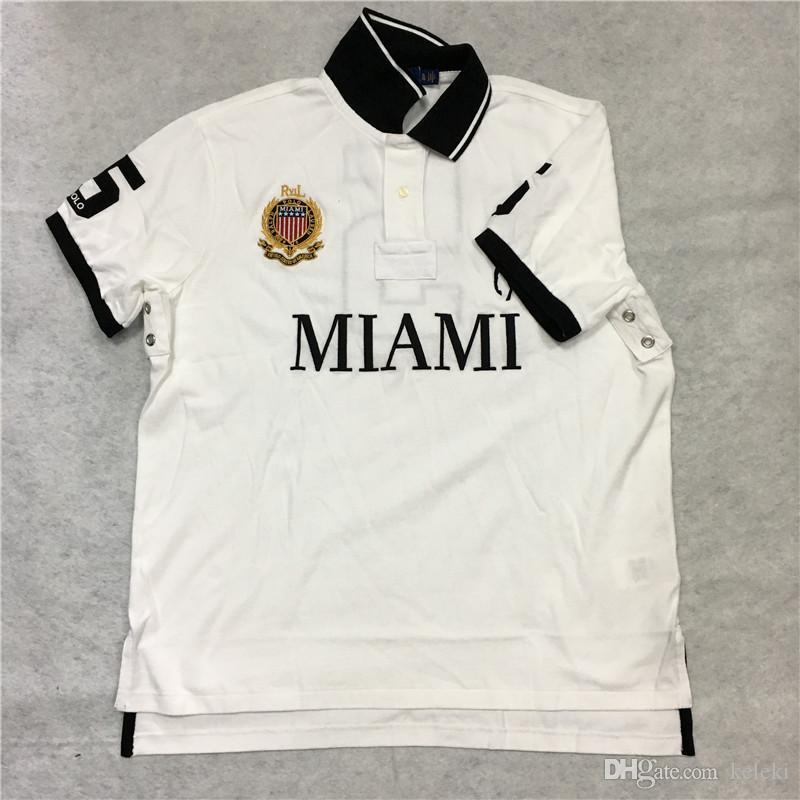 T-Shirt POLO TAGLIA USA Big Pony City Taglio aderente Custom Taglie EU UK Miami White Dubai Gold Chicago Red New York Black