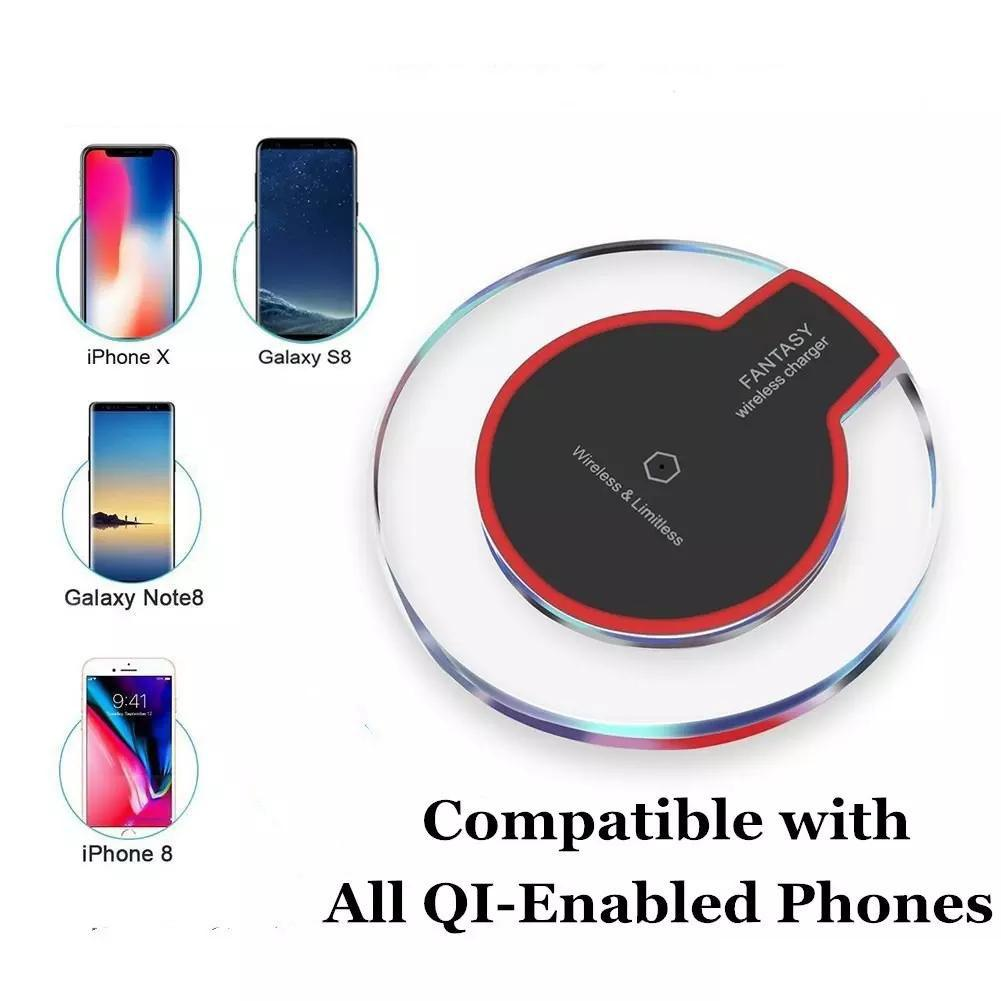 Universal Qi Wireless Phone Charger Fast Charging Compatibility Iphone X 8 plus Samsung Galaxy S8 and all Qi-enabled Devices with 50CM Cable