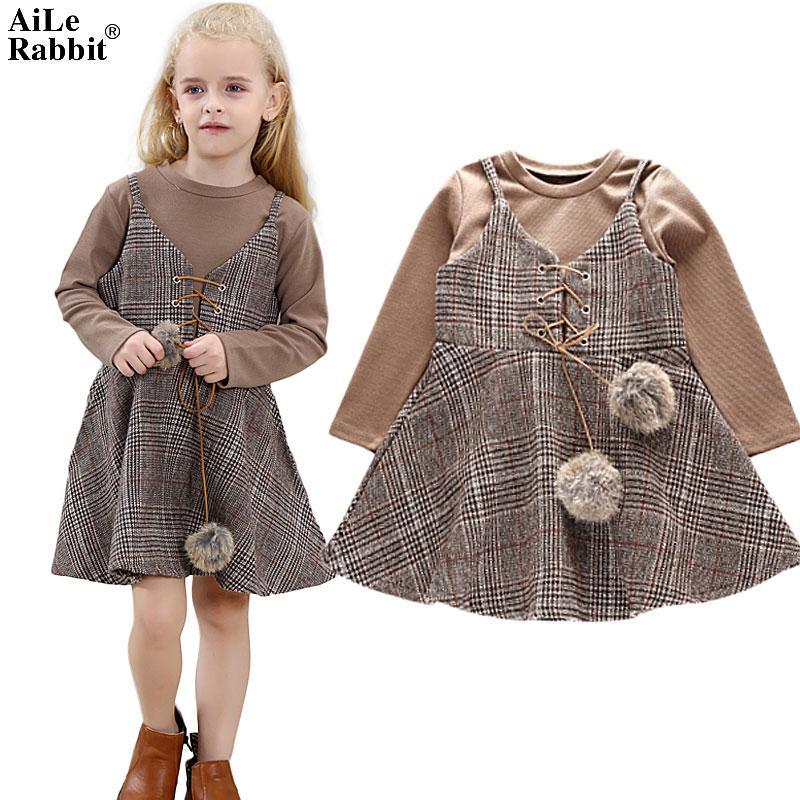 New Girl Clothes Dress Long Sleeve T Shirt Dress 2 Pieces Lattice Harness Unique Design Fashion Kids Clothing
