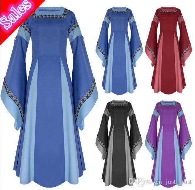 Hot fashion Vintage Medieval Gorgeous Trumpet sleeve sleeves Embroidered Lady 's Dresses Party Theme costume women Roleplay Carnival cosplay