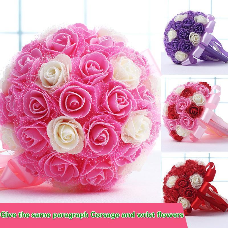 محاكاة الورود الزفاف باقة الزفاف الديكور الزفاف وصيفه الشرف زهرة الدانتيل العروس القابضة زهرة