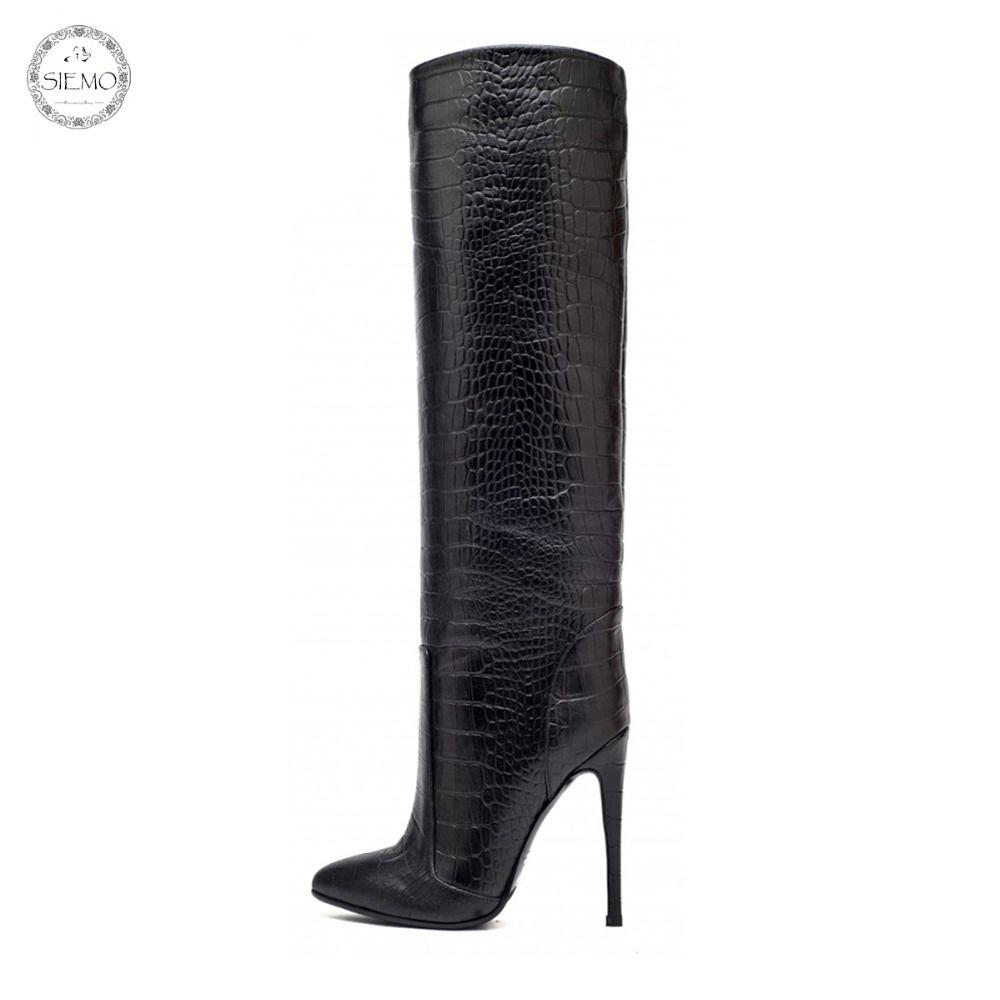 Siemo أزياء المرأة واشار تو أحذية عالية الكعب الركبة مستقيم رمح زلة الكاحل على نطاق واسع في الشتاء اللباس والاحذيه الولايات المتحدة الحجم 4-15،5