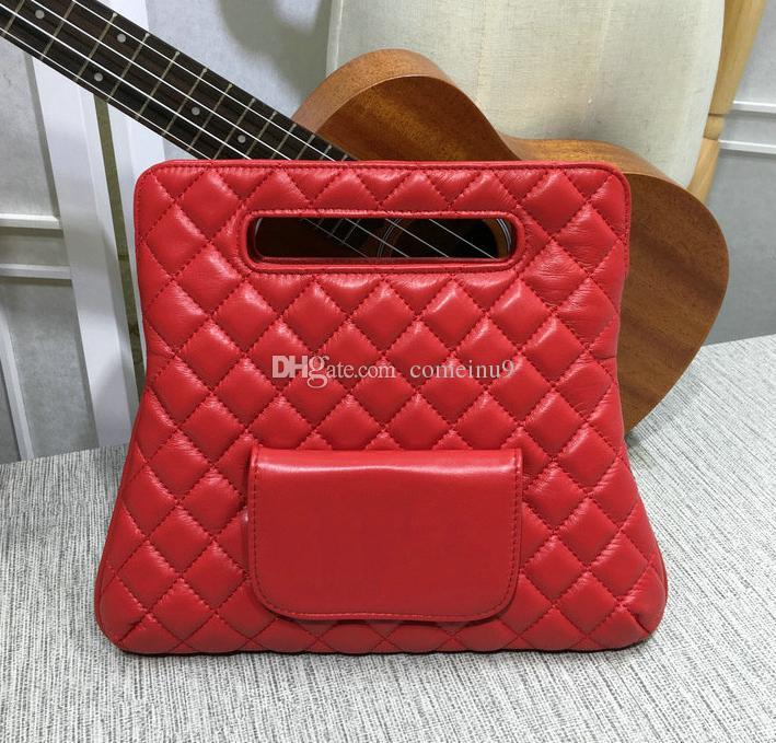 Red soft lambskin Handbag Fold Over Clutch Bag Women Large Hand Tote Bag 2018 Fashion Genuine Leather purse