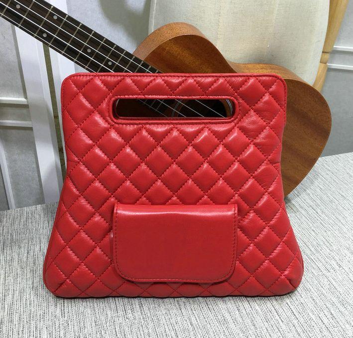 빨간 소프트 양 가죽 핸드백 접이식 클러치 백 여성 큰 핸드 토트 백 2018 패션 진짜 가죽 지갑