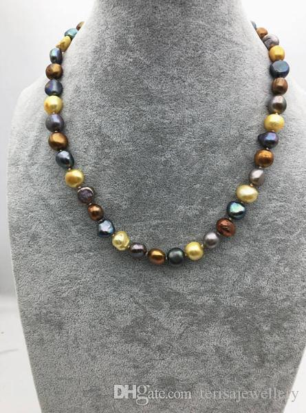 Handmade 20inches 11mm Big Nugget Pearl Multicolor Necklace,Wedding,Birthday Love Mothers Day Women Gift,Happiness Jewellery