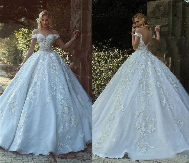 Дубай арабский бальное платье Свадебные платья плеча из бисера Кружева Аппликации Backless Принцесса Свадебные платья Свадебные платья выполнено на заказ