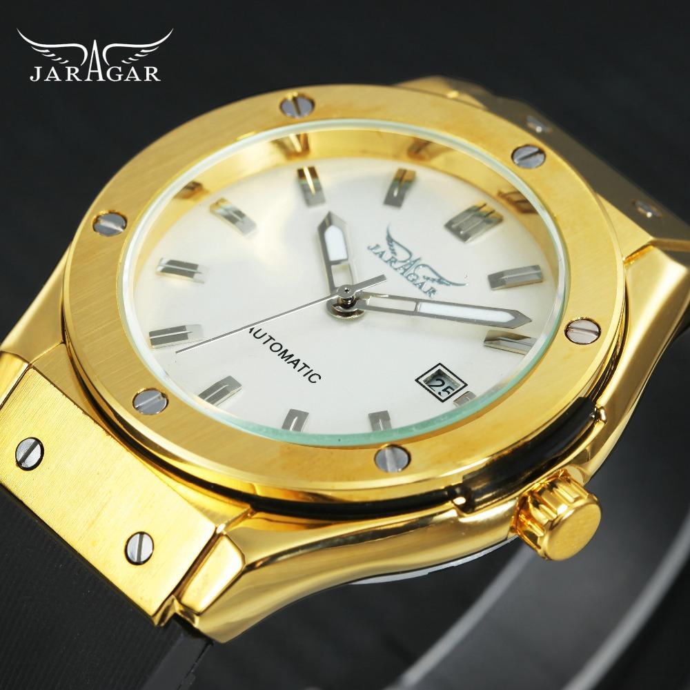 JARAGAR Goldene Herrenuhr Top-mechanische Kalender-Uhr-Mann-Gummibügel-Mode Minimalist beiläufige Uhr