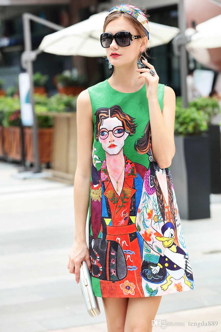 Moda di pista estiva Fantasia tessuto jacquard Abiti di lusso senza maniche Nuovo arrivo Stampa all'ingrosso Donna Casual Designer casual