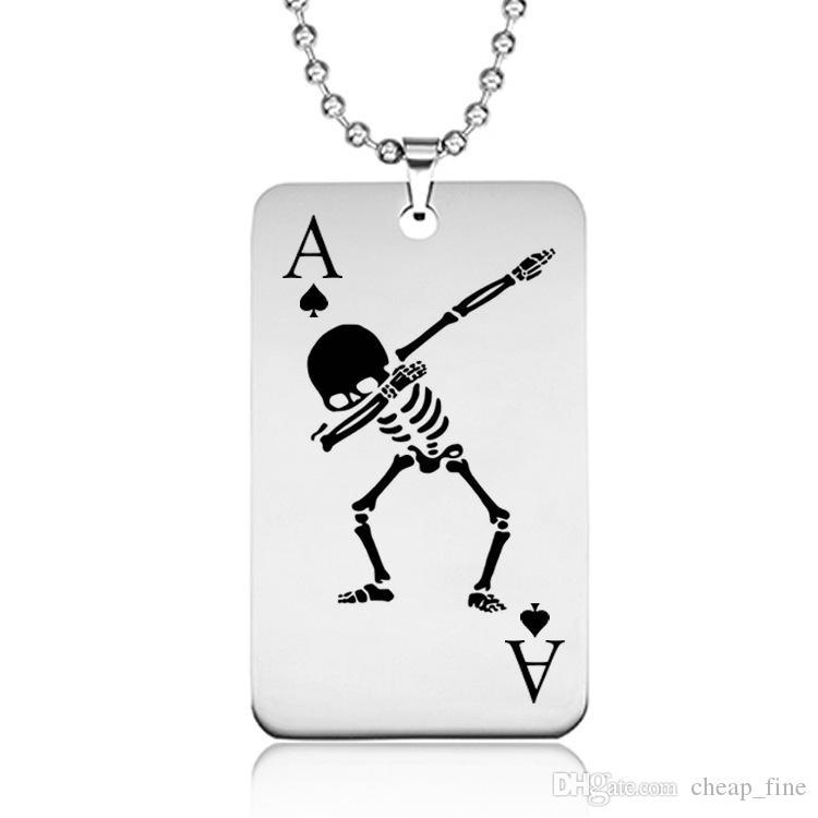Exquisite Schädel Poker Charm Anhänger Halskette Schmuck Für Poker Liebhaber Solide Edelstahl Ace Of Spade Halskette Geschenk Für Ihn