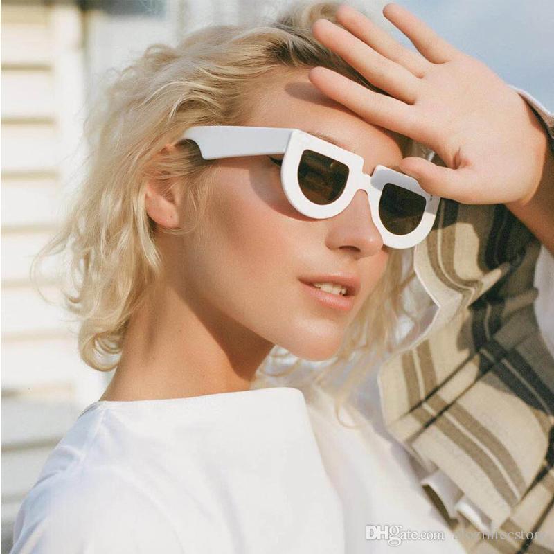 Rétro moitié des lunettes de soleil de marque de lunettes de soleil rondes pour les femmes Flat Top Vintage Lunettes de soleil Femme Homme UV400 W82