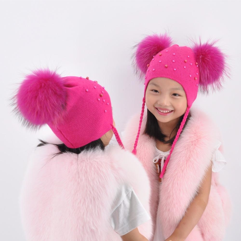 Baby Hat Winter Kids Two Real Raccoon Fur Ball Knitted Cap Wool Hat Children Double Real Fur Pompom Beanie Hat for a Girl Boy D18110601