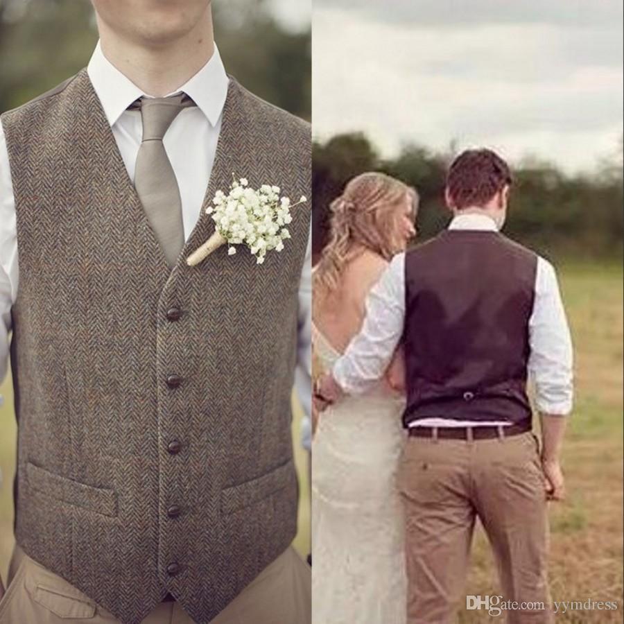 Wool Tweed Herringbone Wedding Groom Vests Groomsmen Vests V-Neck Men's Suit Vests Vest Men's Dress Vest Waistcoat Dress Hunter Farm
