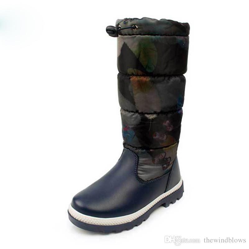 2018 Rusya kış-30 derece çocuklar sıcak kar botları çocuk ayakkabı kızlar için boot su geçirmez kaymaz açık botas 32-37