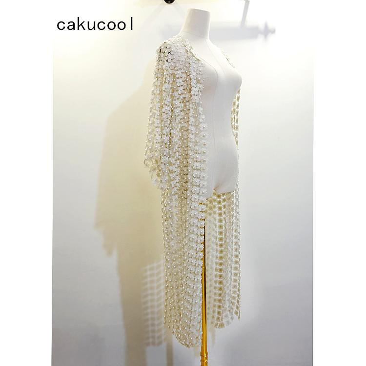 Cakucool Women Pearl Beading Long Coat Casaca Hollow Out Lace Floral Bling Clothes High-end Korean Cardigans Large Femme