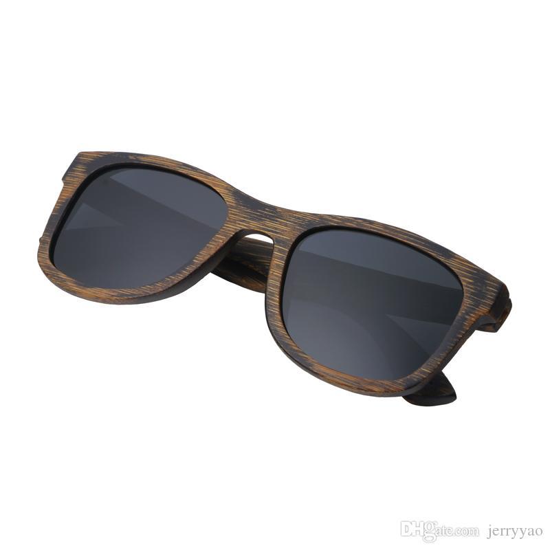 Gafas de sol de madera para las mujeres diseñador de la marca de fábrica UV400 lentes de espejo de bambú gafas de sol para los hombres 2018 recién llegado