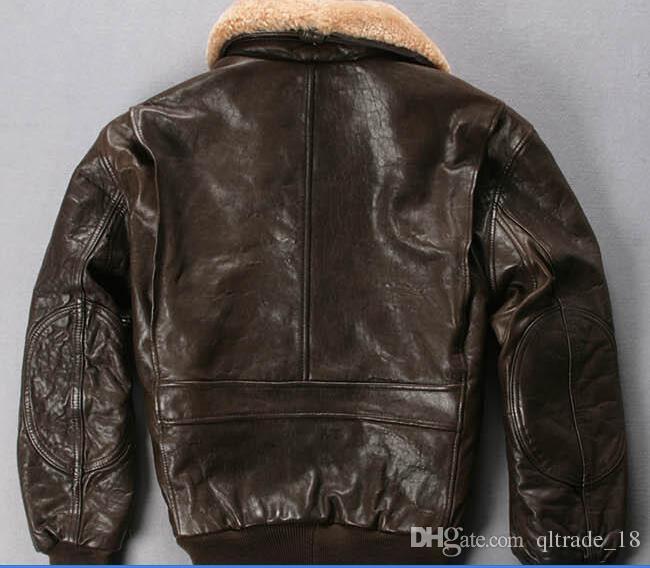collar de la piel del cordero A2 de la fuerza aérea de piel de oveja de vuelo del bombardero de cuero chaquetas AVIREXFLY hombres chaquetas de cuero genuino