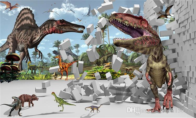 Photo Wallpaper 3d Brick Dinosaur Animal Mural Kids Bedroom Living Room Personality Background Wall Covering Papel De Parede 3d Latest Wallpapers
