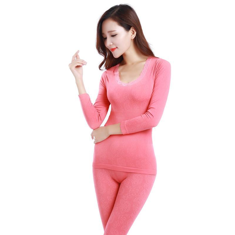 NEW 2017 Women Thermal Underwears Slim Body Shaped Winter Warm Long Johns Ladies Seamless Antibacterial Underwear Clothes+pants