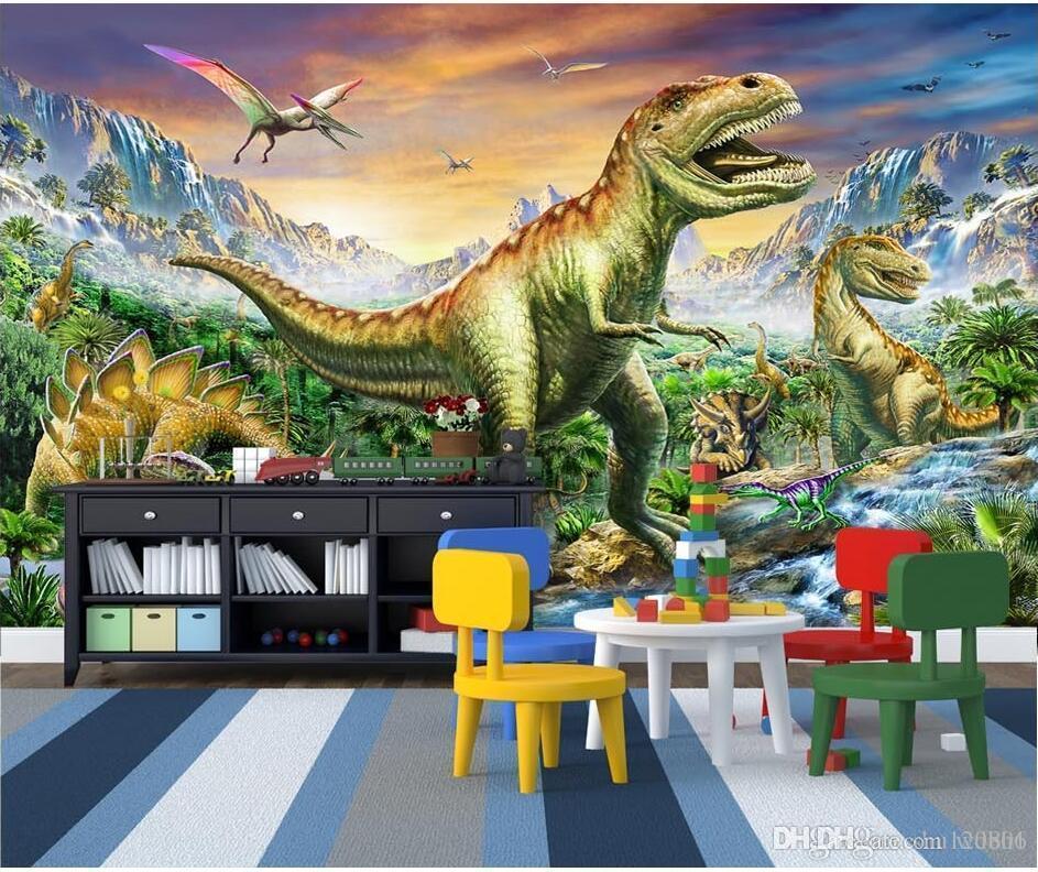 3D 벽지 사용자 정의 사진 포리스트 Tyrannosaurus 쥬라기 공룡 세계 어린이 방 3D 벽 벽화 벽지 벽 3 d 생활 ro