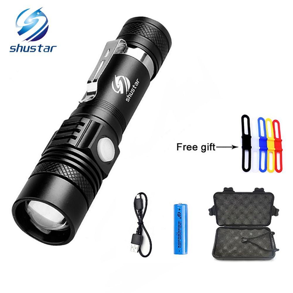 Shustar XML-T6 LED El Feneri Torch 3800 Lümen Zumlanabilir led meşale Için 18650 pil alüminyum + USB şarj + Hediye kutusu + Ücretsiz hediye