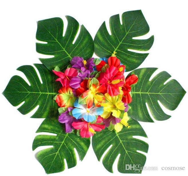 Sztuczna Tropikalna Palma Liście Płatek Jedwab Kwiat Dekoracji Zestaw Dla Hawaje Luau Party Dekoracje Plaży Theme Wedding Table Home Ogród