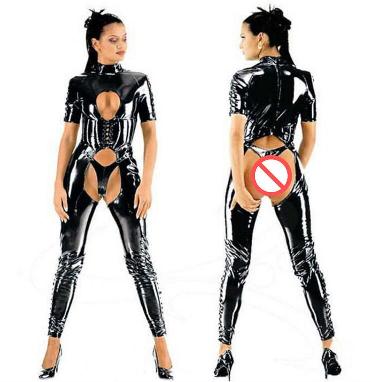 Lencería sexy para mujer Negro PVC FAUX LEATHER Jumpsuit Catsuit Club Fancy Dress # T78