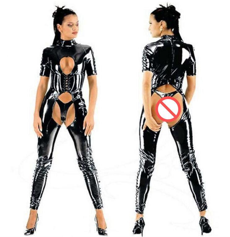 Ladies Sexy Lingerie Black PVC ECOPELLE Tuta Catsuit Club Fancy Dress # T78