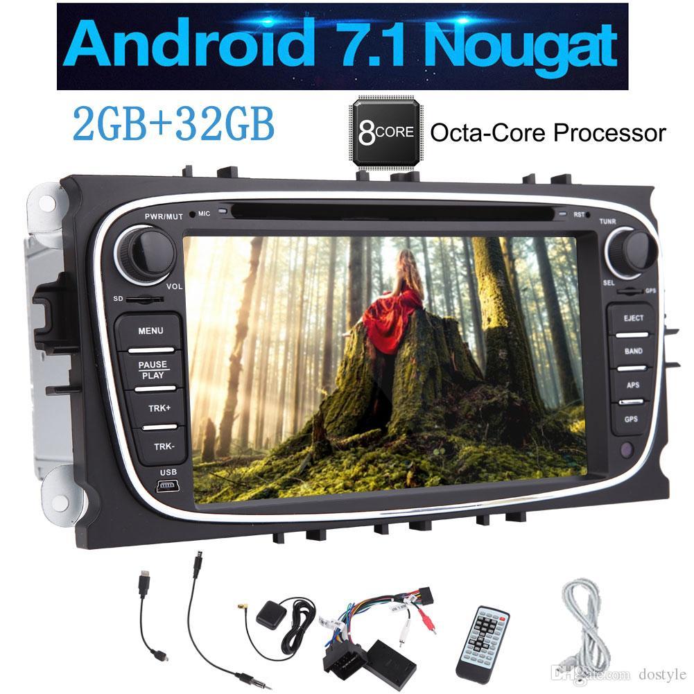 7 '' Android 7.1 Octa-Core Double DIN Car Radio Estéreo DVD del coche reproductor de CD para Ford Mondeo Navegación GPS Multi Sistema WIFI USB
