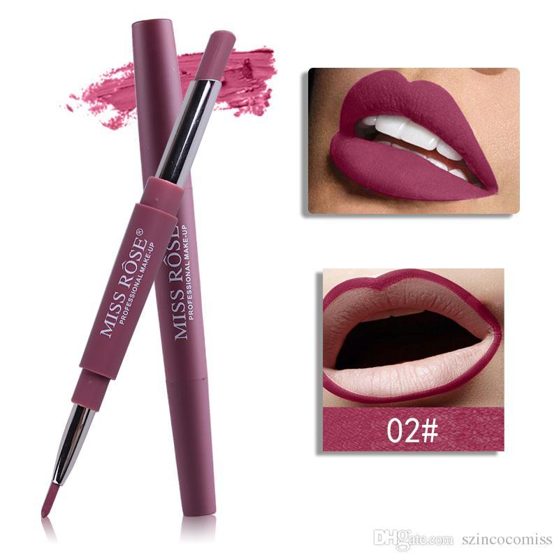 marca de las mujeres atractivas de moda Miss Rose genuina hidratante labial impermeable doble labio duradero revestimiento lápiz labial línea