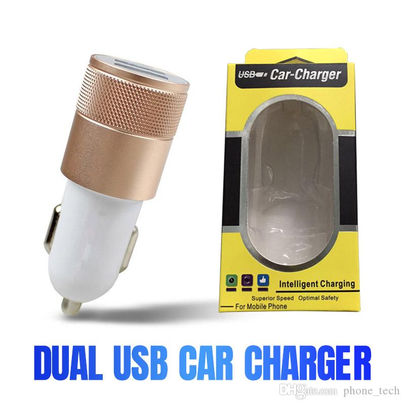 2.1A 1A Dual USB Car Charger Aluminum Alloy Universal Intelligent Charging Auto Charger For iPhone Samsung Mobile Android Phone