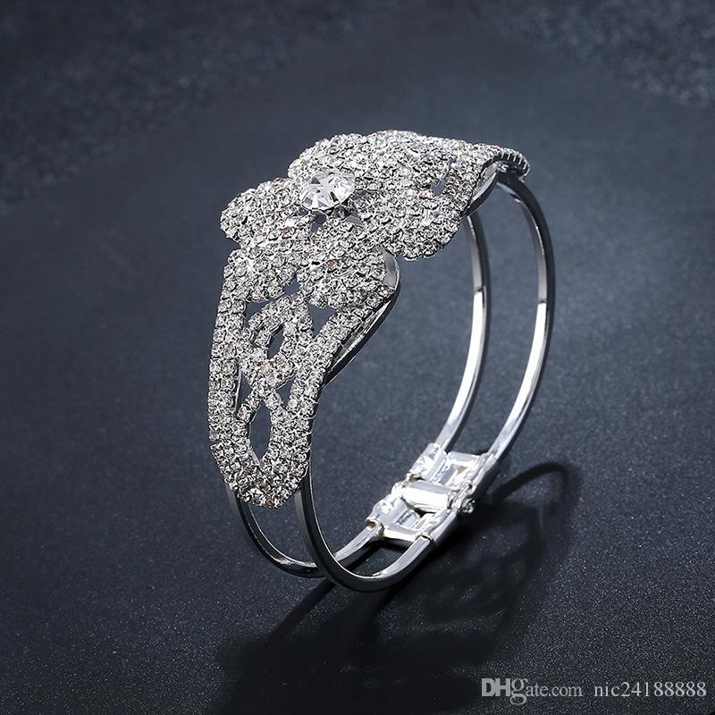 Women Fashion Design Wedding Jewelry Bracelet Hand Chain Alloy Charm Bride Jewelry