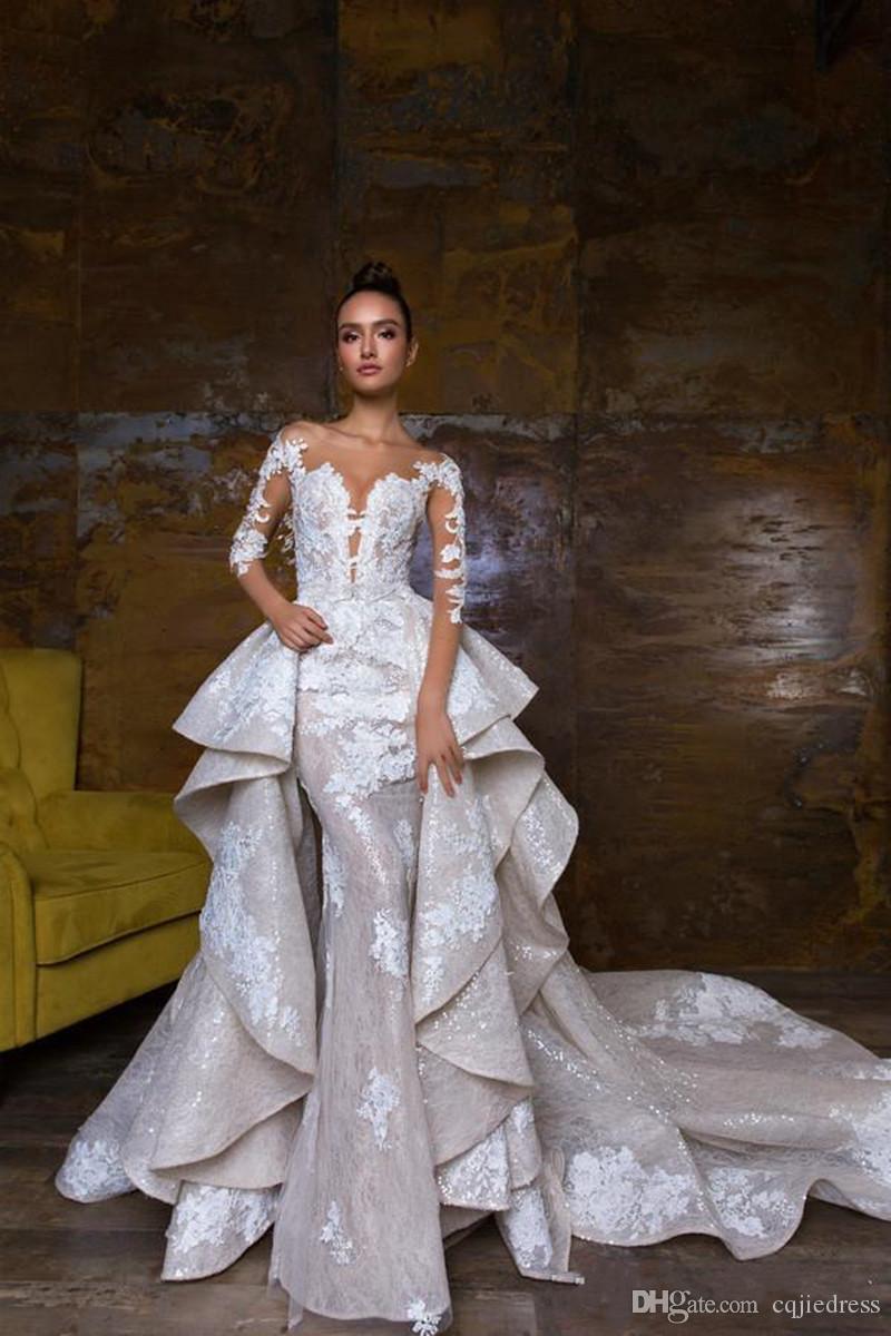 2018 nuevos vestidos de novia de sirena diseñados con trenes desmontables encaje apliquen vestidos de novia ilusión ilusión país vestido de novia 2019