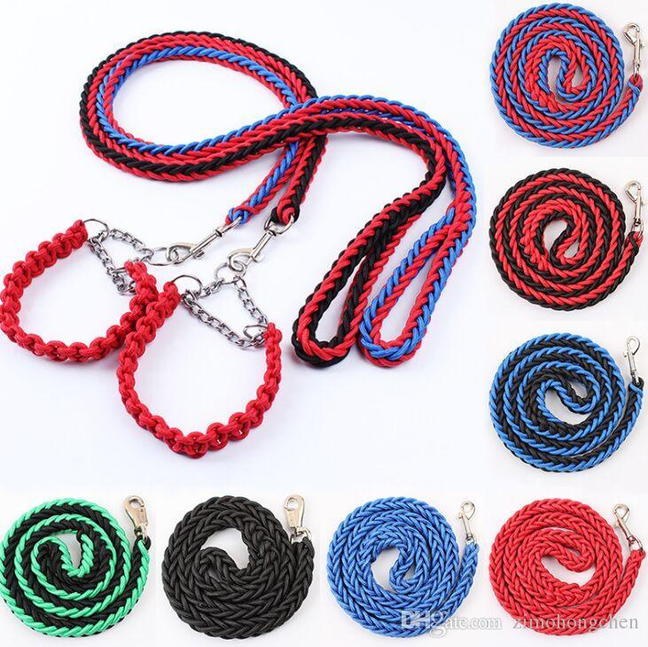 Ajustable de nylon colorido de ocho capas trenza cadena de perro collar de perro mascota correa para perros grandes