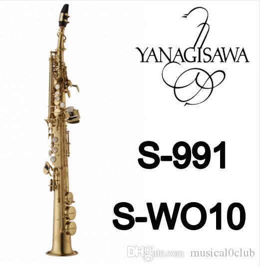 Yeni Varış YANAGISAWA S-991 S-WO10 Altın Kaplama Saksafon Soprano B (B) Dinle B Düz Sax Pirinç Enstrüman Ağızlık Kılıf Ile