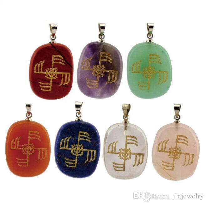 JLN Ginfaxi Viking Gravur Anhänger Nordic Victory-Zeichen Edelstein Gesundheit Amulett Energie-Halskette mit 18 Zoll Messingkette