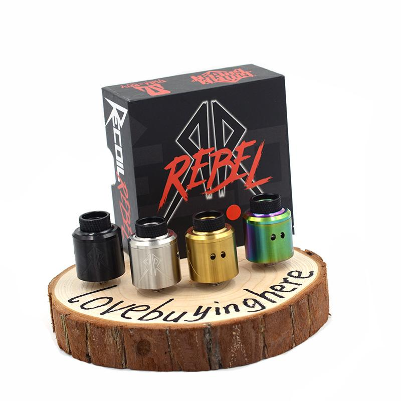 Retail Recoil Rebel RDA 24mm E-cigarette Clone Dual Caps Ecig Vaporizer Atomizer Silver-Plated Pin 4 Colors Vape Atomizers Best Recoil RDA