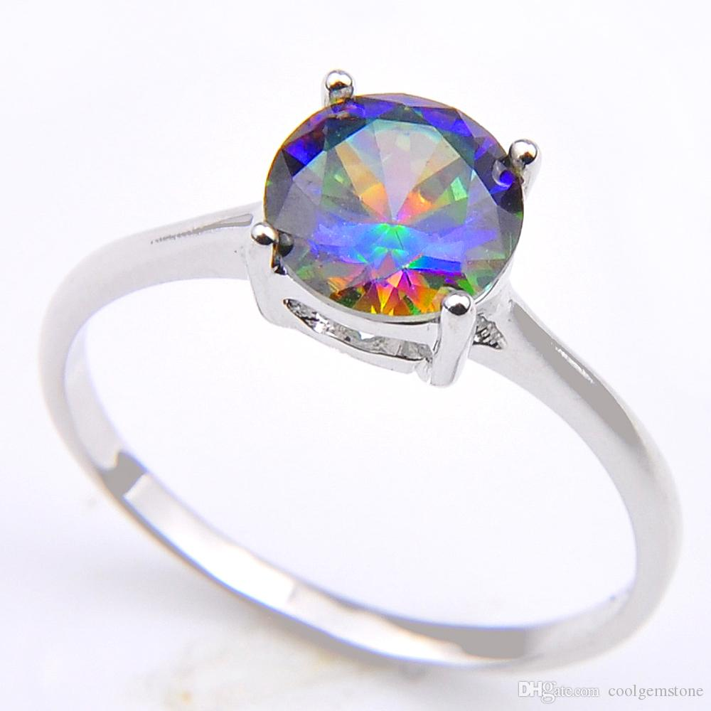 Vintage 925 Sterling Silver Plated Queen Fancy Natural Mystic Topaz Round Gemstone Jewelry Austrian Crystal Wedding Ring for lovers CR0471