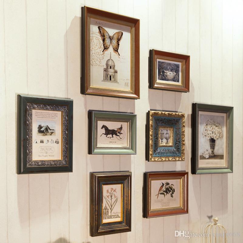 Marchio di alta qualità 8 pezzi / set Set di cornici per foto in legno per famiglia