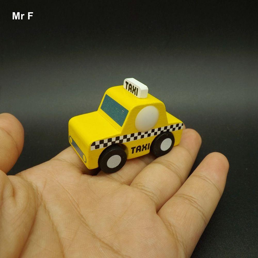 Exquis Mini Taxi Modèle Creative Jouet Enfant Mini Voiture En Bois Apprentissage Jouets Cadeau Apprentissage Enseignement Enseignement Prop Gadget