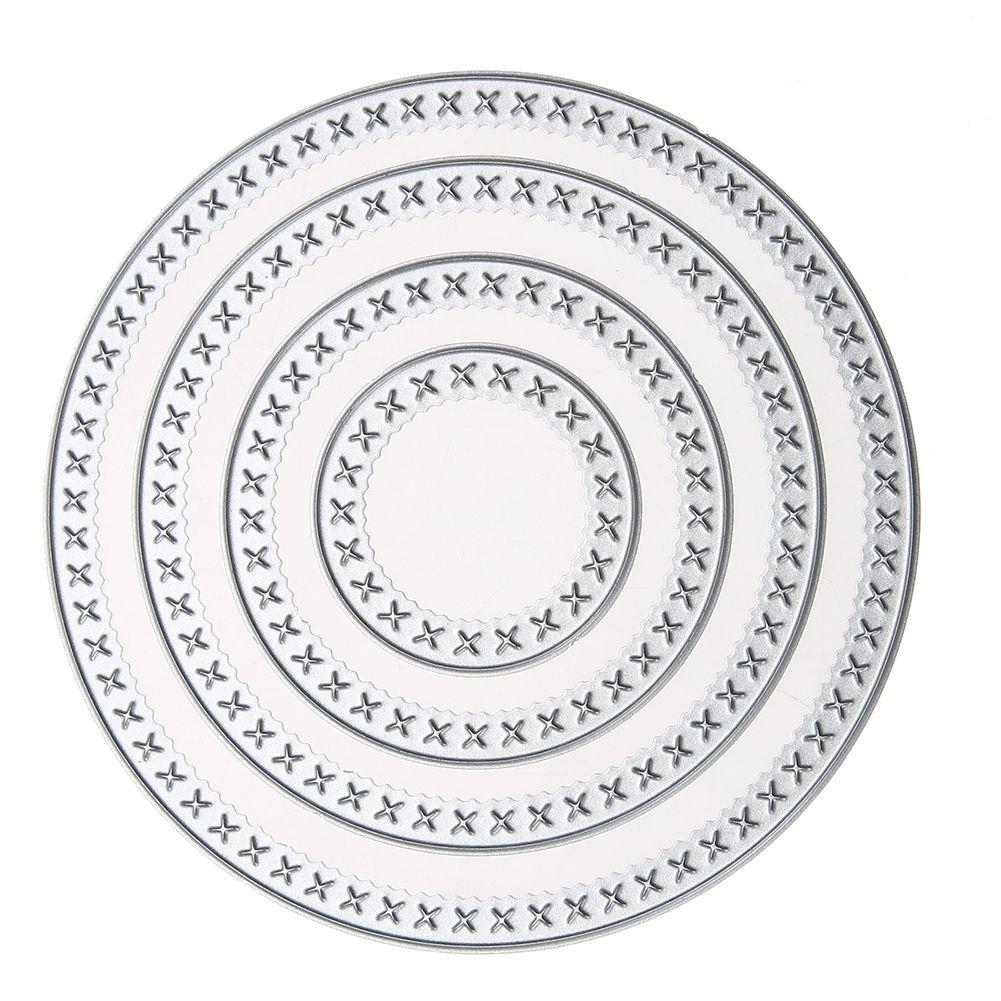 4Pcs Circle Cutting Dies Metal Stencil Embossing Folder DIY Scrapbooking Photo Album Decoration Dies Paper Card Making Craft